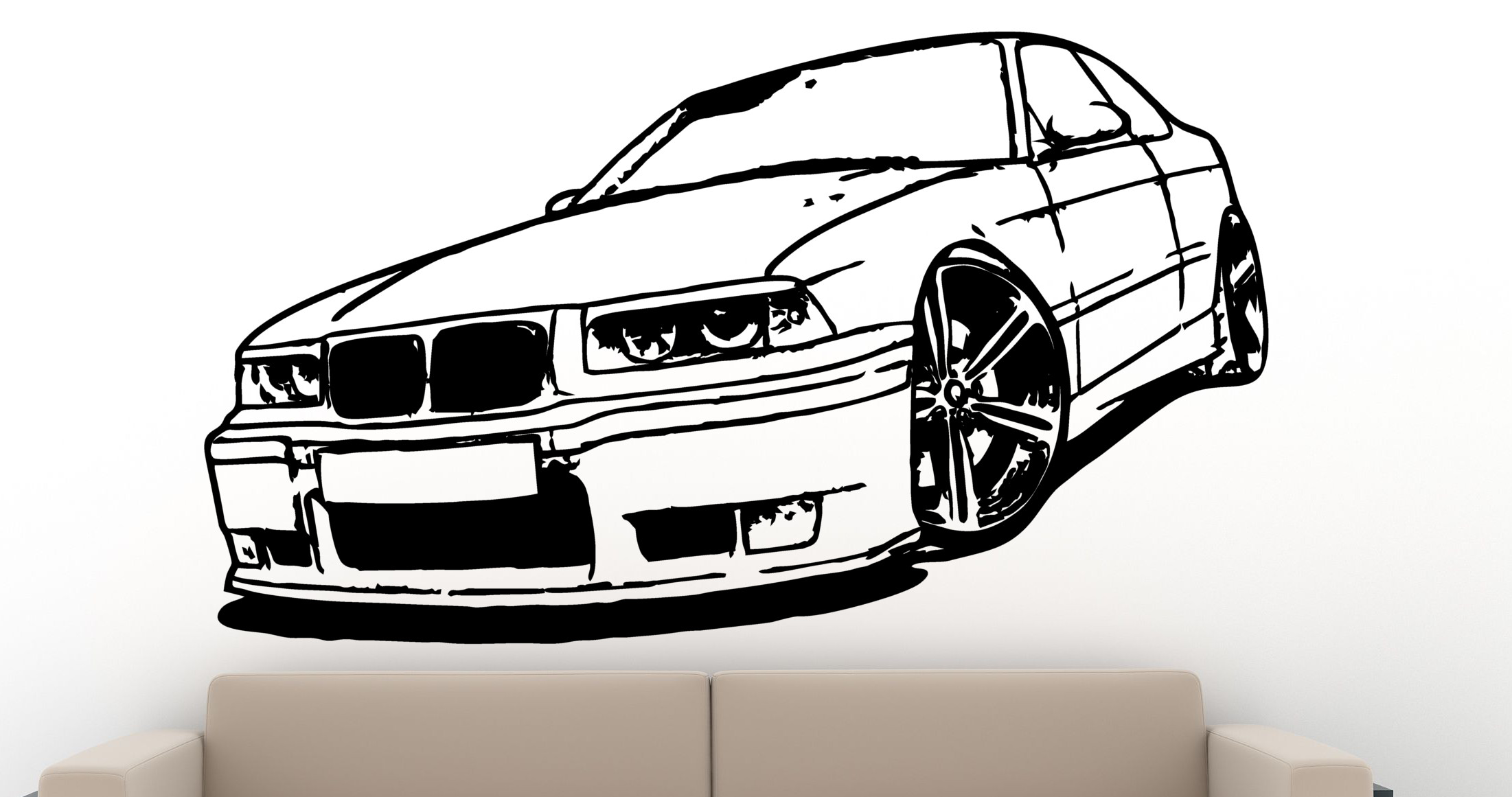 wandtattoo bmw 325i e36 wandbild aufkleber. Black Bedroom Furniture Sets. Home Design Ideas