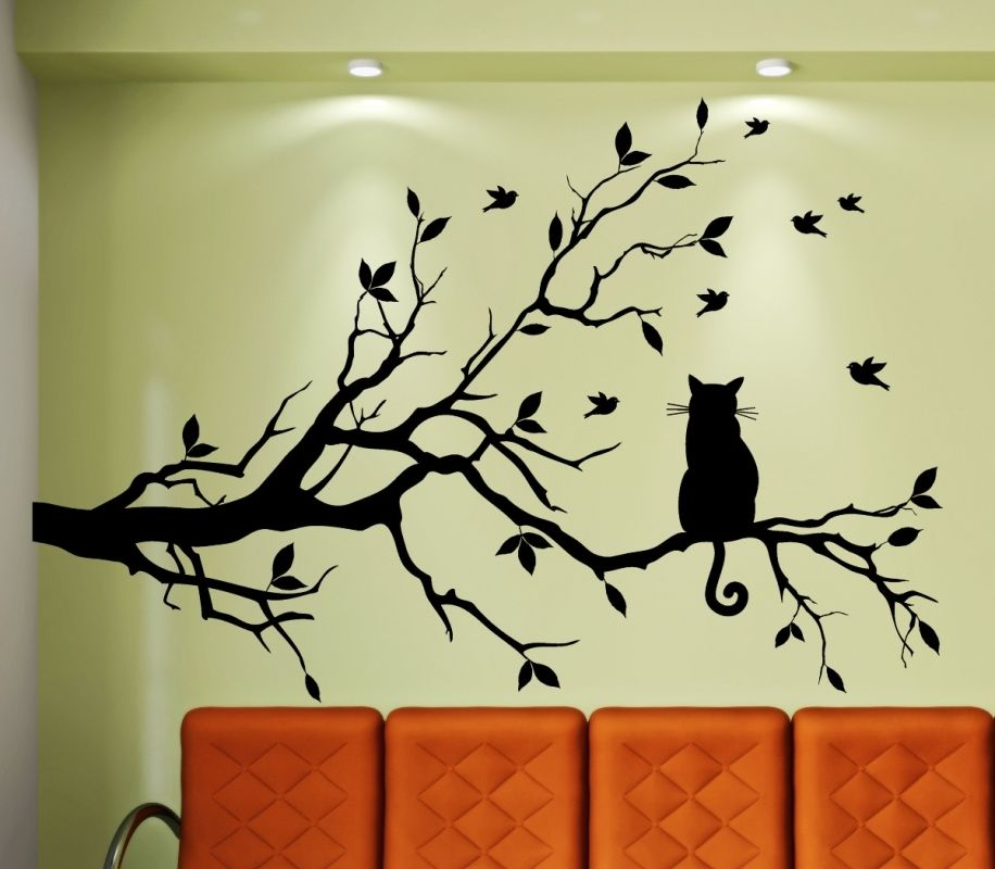 wandtattoo katze auf einem ast wandbild aufkleber wohnzimmer kinderzimmer k che ebay. Black Bedroom Furniture Sets. Home Design Ideas