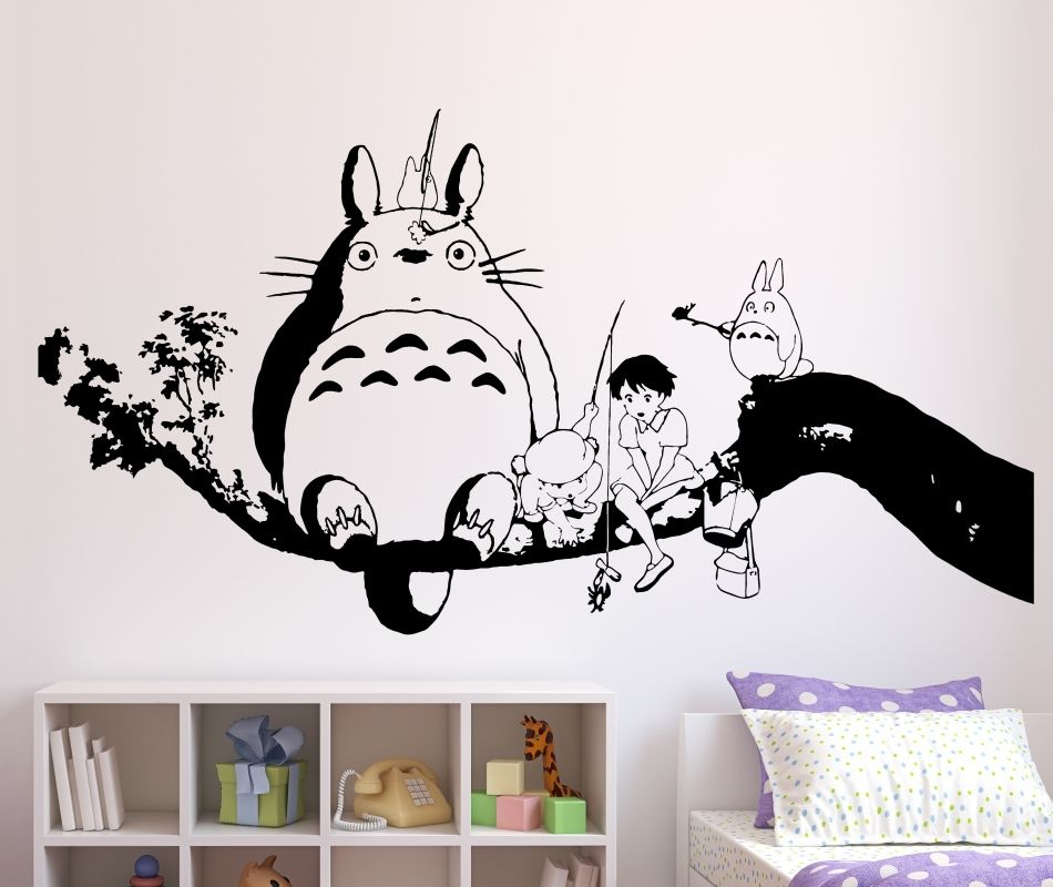 wandtattoo mein nachbar totoro aufkleber wandbild wohnzimmer k che anime manga ebay. Black Bedroom Furniture Sets. Home Design Ideas