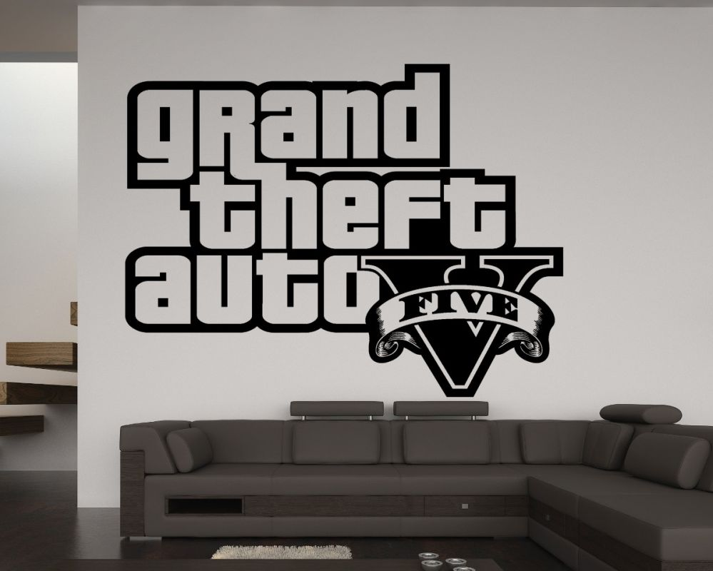 wandtattoo gta 5 logo aufkleber wandbild wohnzimmer schlafzimmer gaming deko ebay. Black Bedroom Furniture Sets. Home Design Ideas