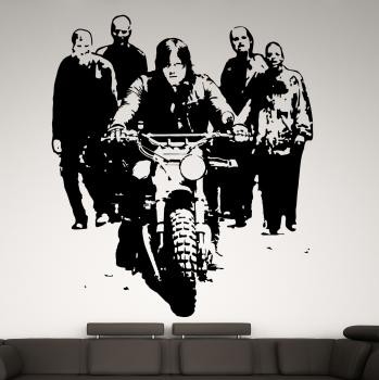 Wandtattoo The Walking Dead Daryl mit Motorrad