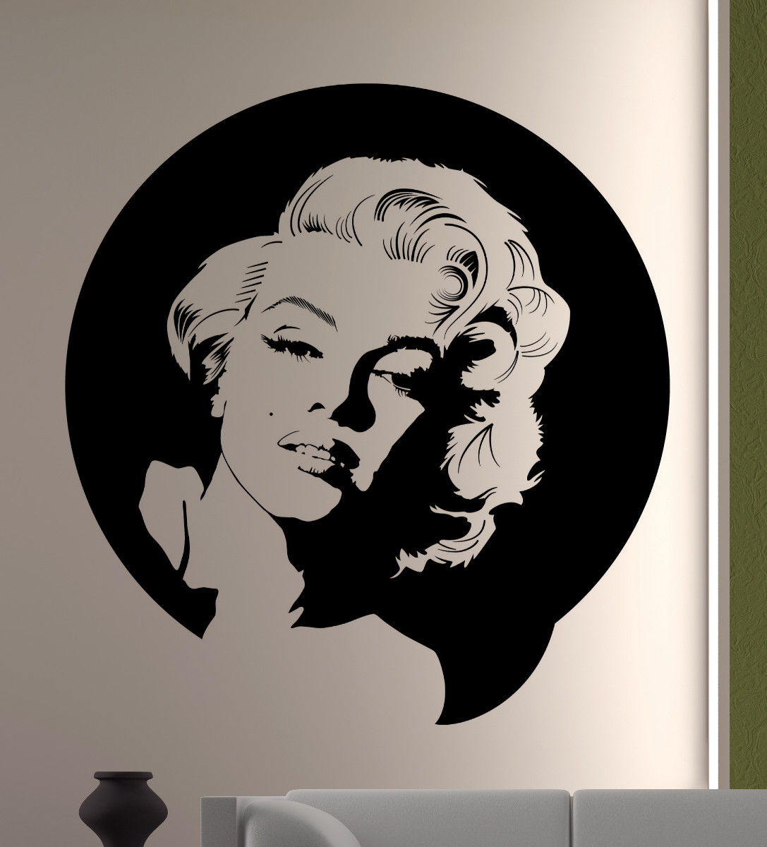 streetwall wandtattoo marilyn monroe portrait wandbild aufkleber. Black Bedroom Furniture Sets. Home Design Ideas